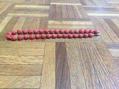 Fine Antique Chinese Hand Carved Red Cinnabar Bead Necklace Gold Filled Clasp