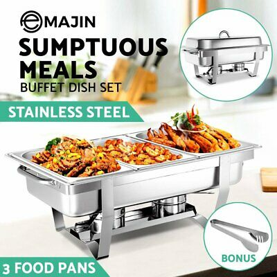 Emajin 9L Bain Marie Bow Chafing Dish 3x 3L Stainless Food Buffet Warmer Set