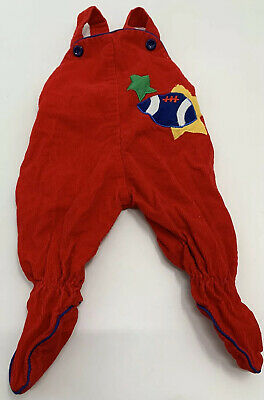 Vintage Cradle Togs Baby Boy One Piece Overalls 0-6 Months Embroidered Red