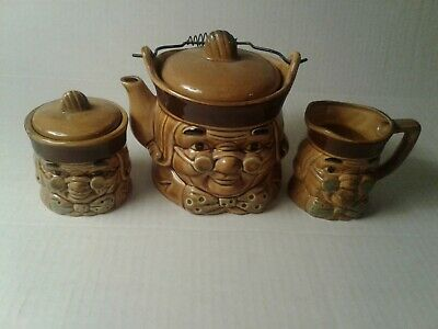 Tea Pot Cream and Sugar Set Japan Toby Ben Franklin Wire Handle