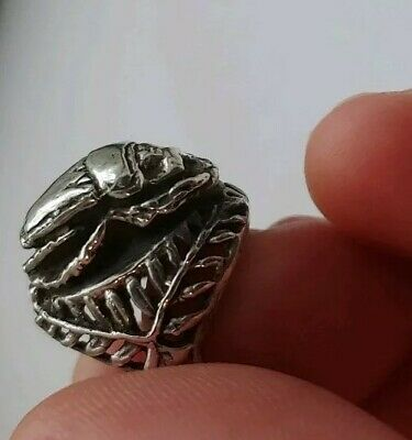 Scarab Ring Art Deco Egyptian Revival  Sterling Silver Laurel Crown Setting