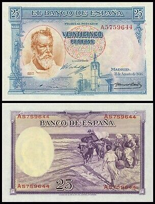 Facsimil Billete 25 pesetas de Agosto 1936 - Reproduction
