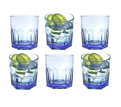 6 x Blue Glass Water Tumblers 330ml Whiskey Juice Drinking Glasses Tinted Short