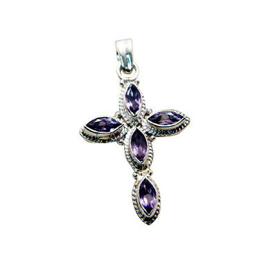 supply 925 Sterling Silver grand genuine Purple Pendant UK gift