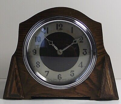 Vintage ENFIELD OAK MANTLE CLOCK Working Wooden Art Deco