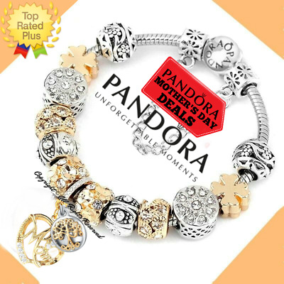 """Authentic Pandora Charm Bracelet Silver Gold """"DREAMS""""  with European Charms New"""