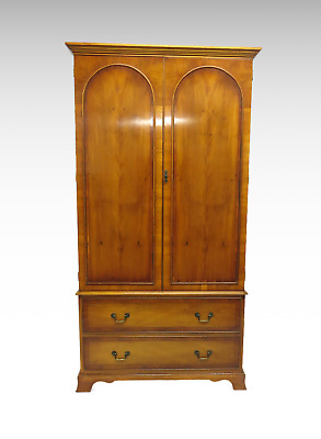 Yew wood veneer double 2 door wardrobe with 2 drawers *Bradley Furniture #2524