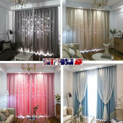 Star Blockout Blackout Curtains Eyelet Pure Fabric Room Darkening 2-Layers OZ
