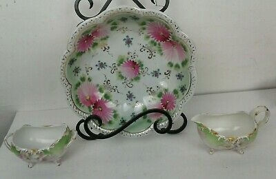 Antique Footed Sugar Bowl & Creamer Serving Bown Set Green with Pink Flowers