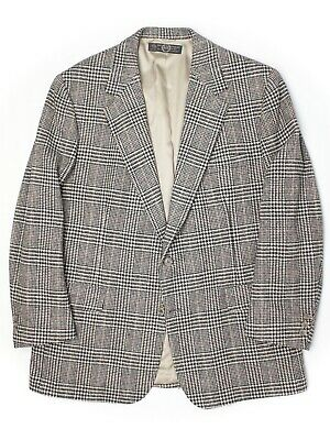 Brooks Brothers Mens Tweed Sport Coat 43R 44R Gray Prince of Wales Glen Plaid
