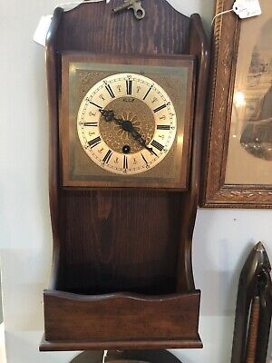 Vntg, Roxhall Wall Clock Walnut Wood Frame Working Cond, Made In Germany