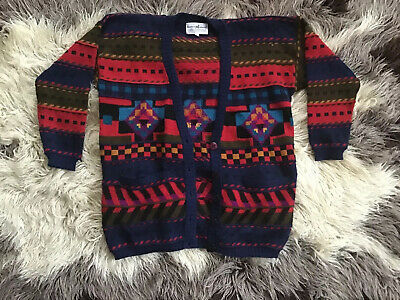 Peruvian Connection Vintage Multi Colored Hand Made Knit Alpaca Cardigan M