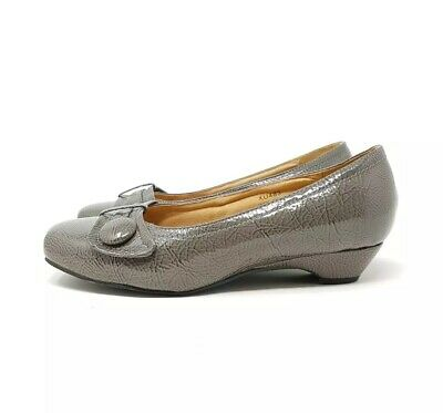 Cushion Walk Taupe Mushroom Patent Low Court Shoes UK 5 EEE Wide Fit 38 Comfort