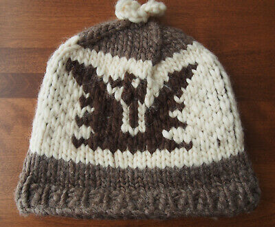 AUTHENTIC COWICHAN Indian HAT 100% Wool Made in British Colombia Thunderbird