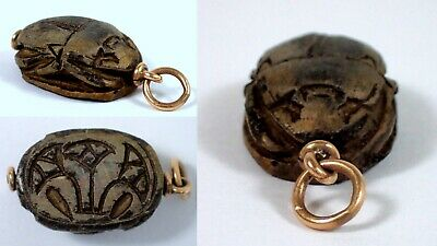 RARE Antique 14k Rose Gold Carved Stone Egyptian Scarab Beetle Watch Fob Pendant