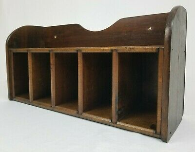 Vintage Desk Top Insert Organizer Mail Sorter Oak Wood Arts & Crafts Primitive