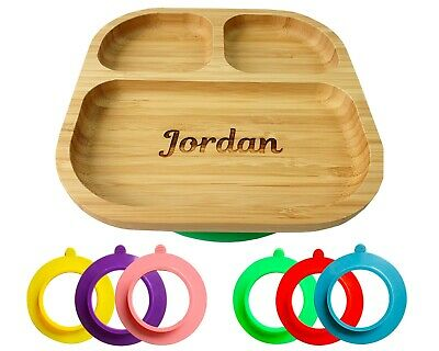 Personalised Baby Plate Bamboo, Bamboo Plates with Suction, Stay Put Plate, Baby
