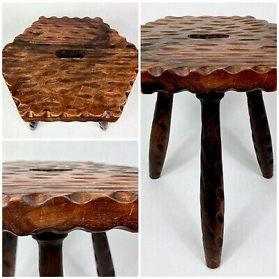 Wooden Milking Stool Antique Dark Milking Stool With Dimpled Effect + Fast P&P