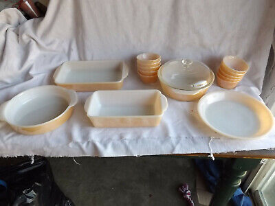 16 Piece Vintage Fire King PEACH LUSTER Baking Dishes Mint Condition