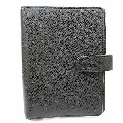 Authentic Louis Vuitton Diary Cover Agenda MM R20222 Black Taiga 152027
