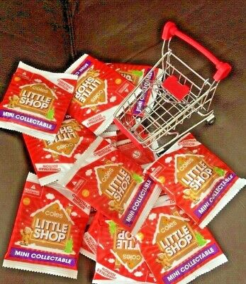 Coles Little Shop Mini Collectables <<-!->> 20 Unopened Xmas Minis & Trolley