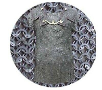Round Riveted Soiled ring Medieval XL 6 mm chain mail Half Sleeve Black