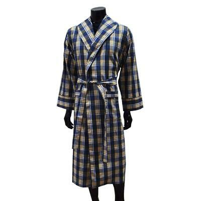 100%  Flannel Cotton Light Weight Gents Dressing Gown - Blue and Yellow Check