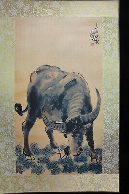 "Old Large Chinese Paper Painting Cattle ""XuBeiHong"" Mark"