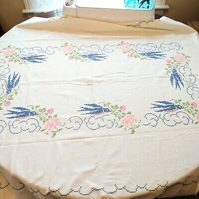 Vintage Needlepoint Tablecloth Blue Birds Pink Flowers 50x64