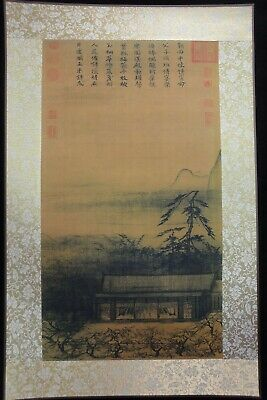 Very Fine Old Large Chinese Ink Paper Painting Landscape Seal Marks