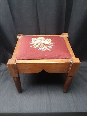Antique Needlepoint Victorian Foot Stool
