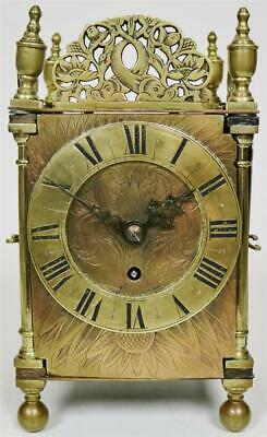 Antique 18thc English 8 Day Brass Fusee Verge Escapement Lantern Mantle Clock