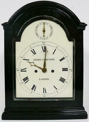 Super Antique English Ebonised Pad Top Twin Fusee Verge Escapement Bracket Clock