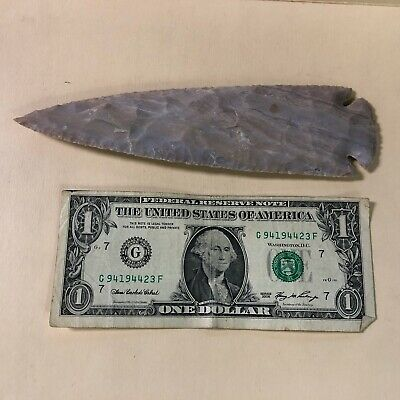 "7 3/8"" Flint Spearhead Arrowhead OH Collection Project Point Napped Well Made!"