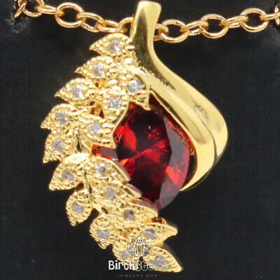 """1Ct Oval Red Ruby Pendant CZ Leaf Halo Necklace 14K Yellow Gold Plated 18"""" Chain"""