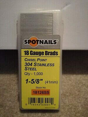 """Spotnails 18 Gauge 1-5/8"""" / 41mm Stainless Steel Brad Nails, Box of 1000"""
