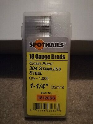 """Spotnails 18 Gauge 1-1/4"""" / 32mm Stainless Steel Brad Nails (Not Tacwise)"""