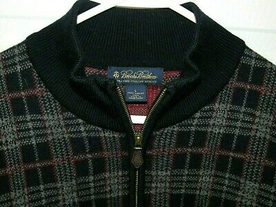 Brooks Brothers Merino Wool Sweater 1/4 Zip Plaid Red Blue Men's Large EXCELLENT