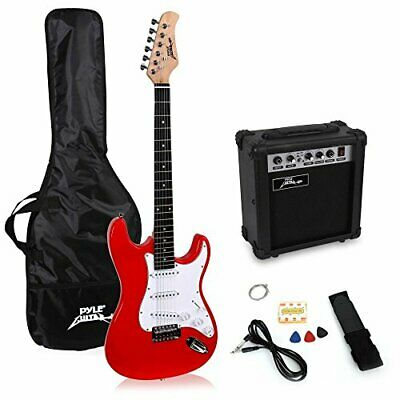 PylePro Full Size Electric Guitar Package w/ Amp, Guitar Bundle, Case & Red