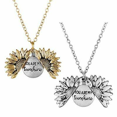 YYWHappyGo You are My Sunshine Sunflower Pendant Necklace Women Open Locket with Gift Card