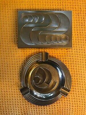 Antique Art Deco silver metal Cigar Box And Matching Ashtray Pine Lined