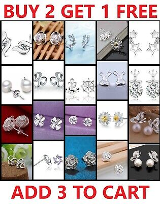 925 Sterling Silver Stud Earrings Cubic Zirconia Crystal Genuine 925 Women Girls