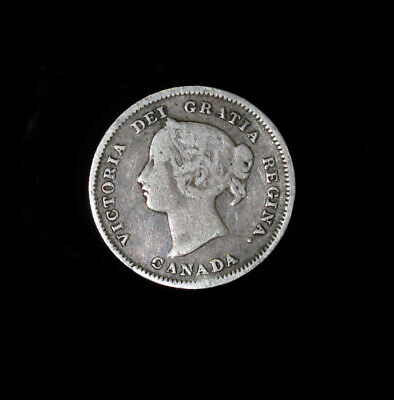 1901 Canada 5 Cents Victoria silver coin F slightly bent