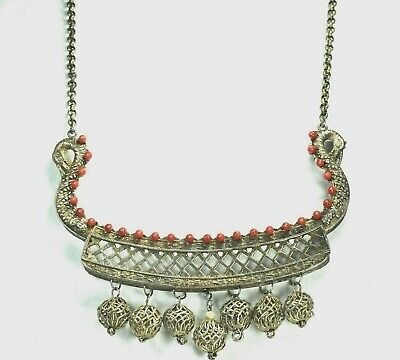 """ANTIQUE CHINESE STERLING SILVER CORAL NECKLACE & LARGE PENDANT- 5.5"""" by 4.5"""""""