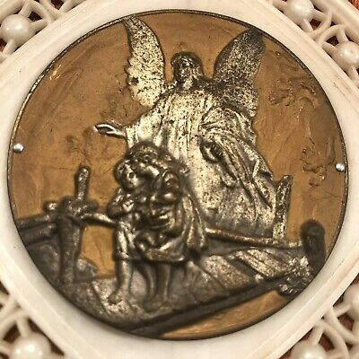 """Vintage Guardian Angel Holy Altar Medal ITALY 5"""" Religious Plaque Catholic Relic"""