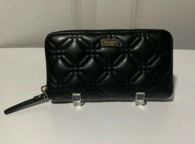 KATE SPADE Astor Court Neda Quilted Leather Zip Around Clutch Wallet Black