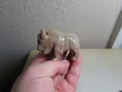 Buffalo (Bison), Hand carved Marble from the Andes. Rich Stone Buffalo Unique