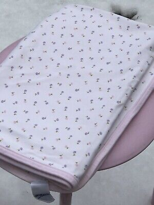 VINTAGE GYMBOREE BABY GIRL Flowers COTTON SWADDLE BLANKET PINK WHITE