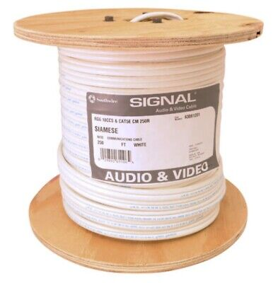 RG6/Cat5e (coax/Ethernet) 250' Cable Spool - White