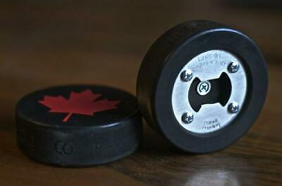 Canadian Maple Leaf Bottle Opener, Made from a real Hockey Puck